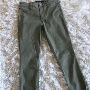 Army green cropped jeggings